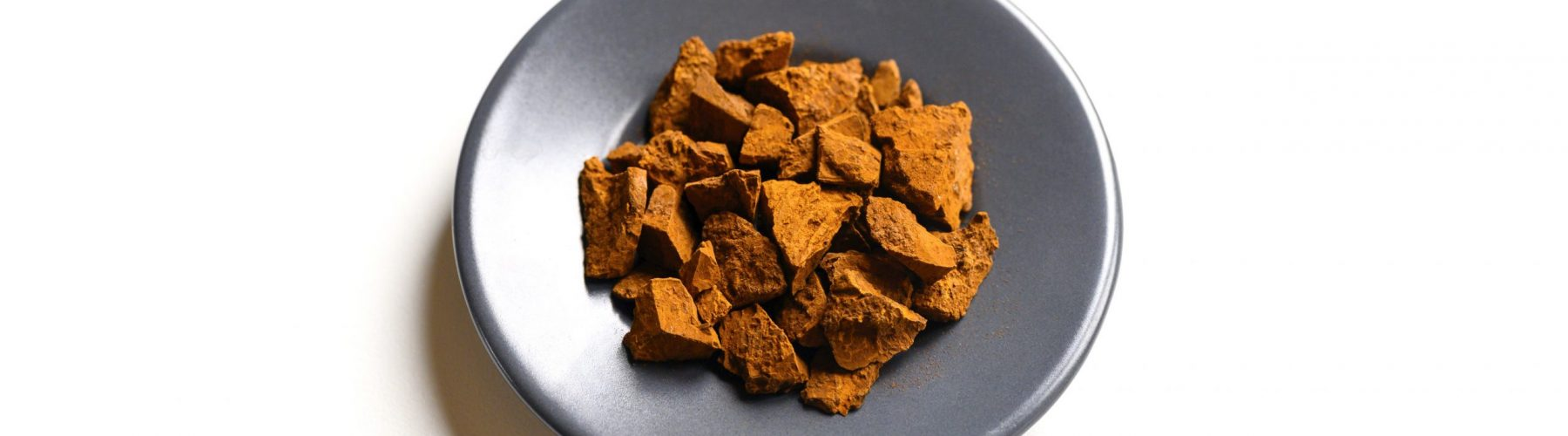 chaga mushroom. small dry chopped pieces of birch tree fungus chaga in a round plate isolated on a white background. concept of alternative natural medicine